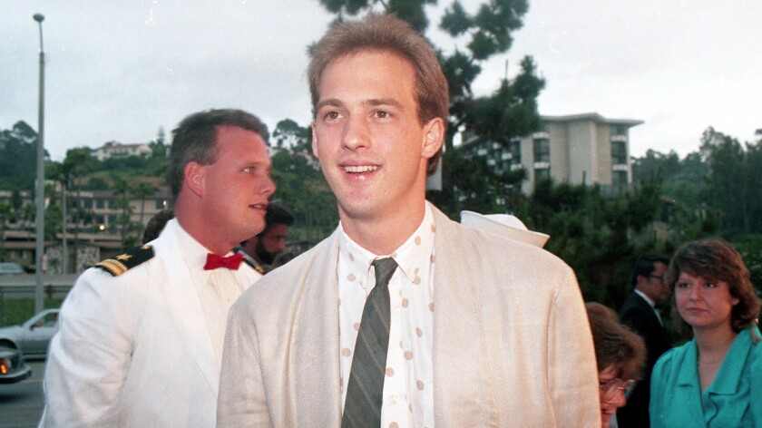"""At the benefit West Coast premiere of the movie """"Top Gun"""" at Mann's Cinema 21 in Mission Valley on May 15, 1986, actor Anthony Edwards, who portrays Lt. Nick """"Goose"""" Bradshaw, an easygoing radar intercept officer, had praise for San Diego as a movie filming locale. """"The filming went extremely smooth,"""" Edwards said. """"I'm crazy about the place."""" (Photo by Bob Redding/The San Diego Union-Tribune) User Upload Caption: U-T file photos at the West Coast premiere of the movie """"Top Gun"""" at Mann's Cinema 21 in Mission Valley on May 15, 1986."""