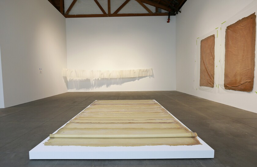 In the foreground: Latex on canvas pieces by Eva Hesse on view at Hauser Wi