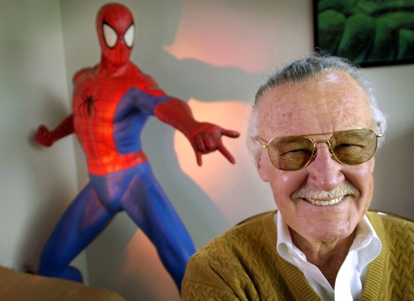 "Stan Lee, creator of comic-book franchises such as ""Spider-Man,"" ""The Incredible Hulk"" and ""X-Men,"" smiles during a photo session in his office in Santa Monica, Calif. in 2002. Comic book genius Lee, the architect of the contemporary comic book, has died. He was 95."