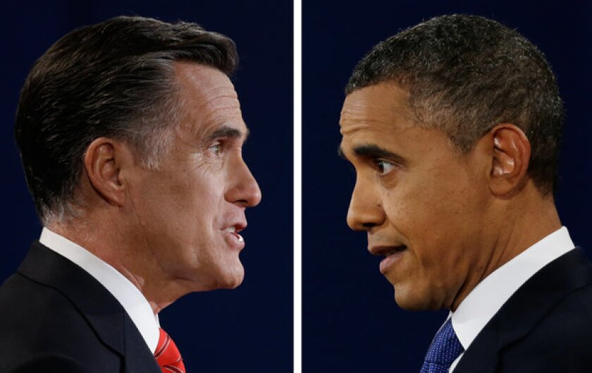 Mitt Romney and President Obama as seen during the first presidential debate. Voters expressed some ambivalence about the election in a Pew survey.