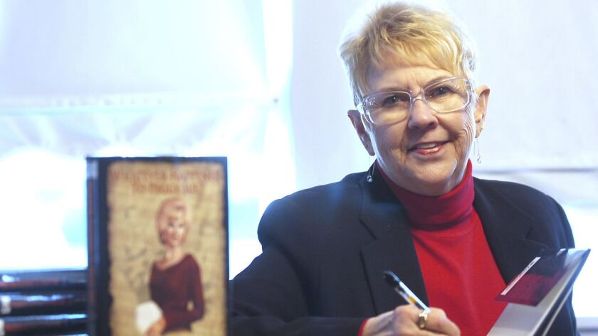 """FILE - In this Jan. 11, 2008, file photo, Peggy Sue Gerron unveils her new book """"What Ever Happened"""