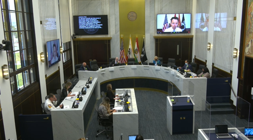 The San Diego County Board of Supervisors meeting on May 4, 2020. T