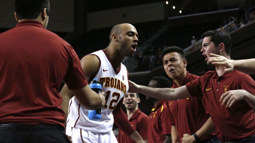 LOS ANGELES, CA-FEBRUARY 17, 2016: The Trojans men's basketball team played Colorado at the Galen Ce