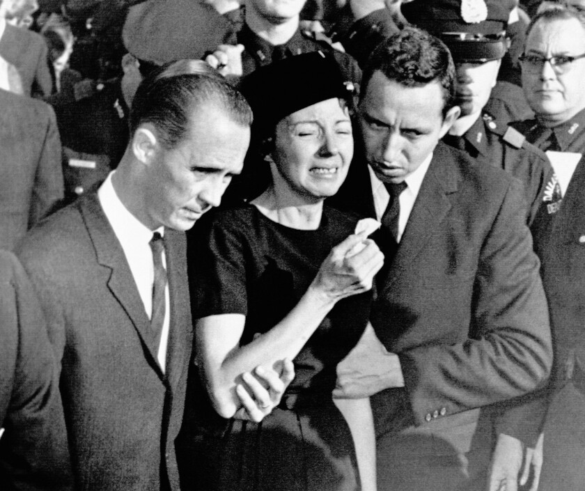 Marie Tippit at the 1963 funeral for her husband, Dallas Police Officer J.D. Tippit, who was shot and killed by Lee Harvey Oswald.