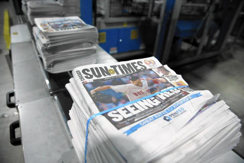 The Chicago Sun-Times is obligated by a $25-million annual printing and distribution contract with the Chicago Tribune through 2019.