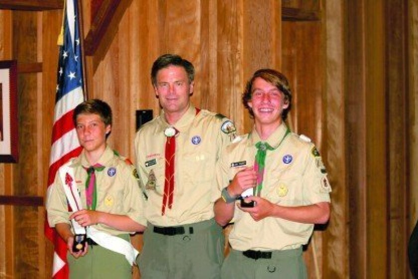 Left to right: Chris Shopes, Scoutmaster Bryan Snyder, Jon Shopes