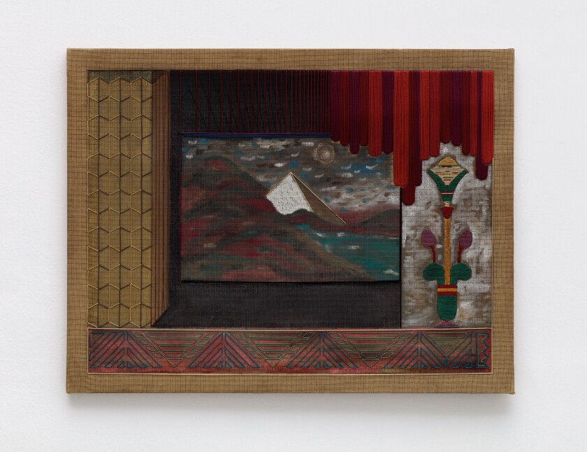 """""""Pyramid I"""" by Nicolas A. Moufarrege, 1980. Embroidery thread and paint on stretched fabric, 19-3/4 inches by 25-5/8 inches"""