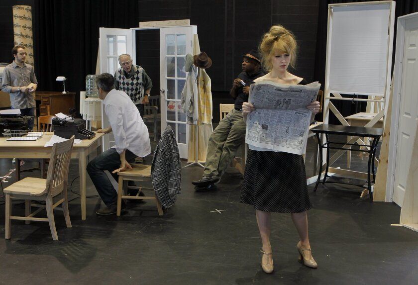 "Jenn Lyon (as Hildy Johnson) and cast mates rehearse a scene from ""His Girl Friday"" at La Jolla Playhouse."