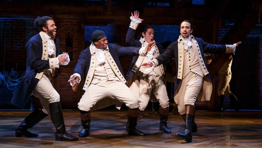 "Daveed Diggs, left, Okieriete Onaodowan, Anthony Ramos and Lin-Manuel Miranda in ""Hamilton."""
