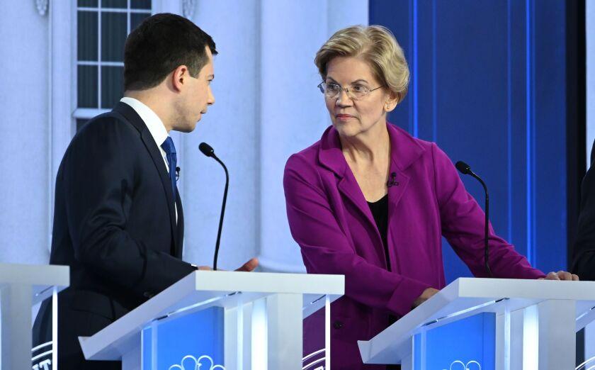 Pete Buttigieg and Elizabeth Warren at Democratic presidential primary debate
