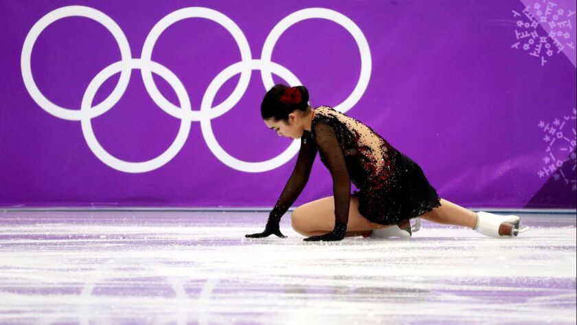 Karen Chen of the USA falls during the Women's Single Free Skating during the Pyeongchang 2018 Olympic Games, South Korea.