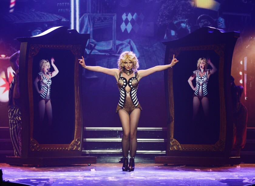 """Britney Spears is shown in rehearsals the day before the debut of her new """"Piece of Me"""" show at Planet Hollywood Resort & Casino in Las Vegas."""