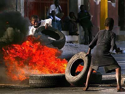 Tires burn