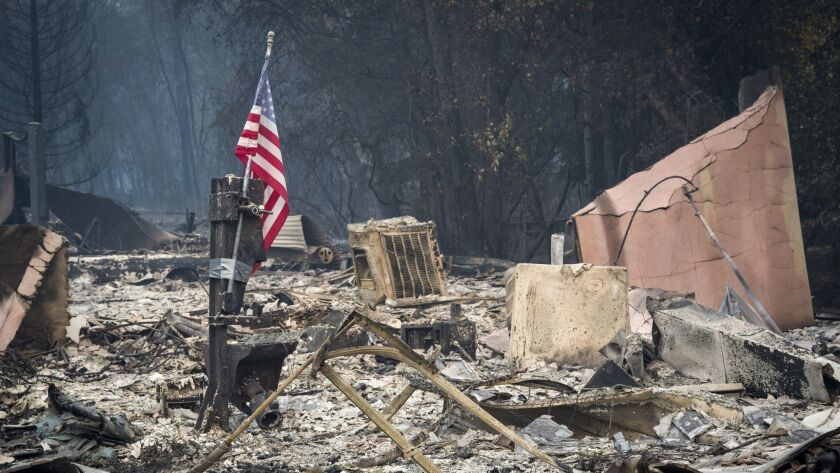 An American flag stands among burned rubble during the Camp Fire in Paradise, California on Nov. 13. The cause of the fire hasn't been finally determined, but PG&E reported an outage around the time and in the place where the fire is thought to have started.