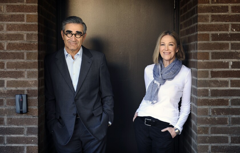 """SCTV"" costars Eugene Levy and Catherine O'Hara reunite in the new Pop sitcom ""Schitt's Creek."""
