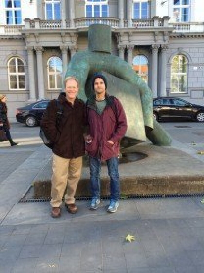 Brad Weinreb with visiting Israeli Professor Yehudah Adar in front of Administrative Court. Courtesy photo