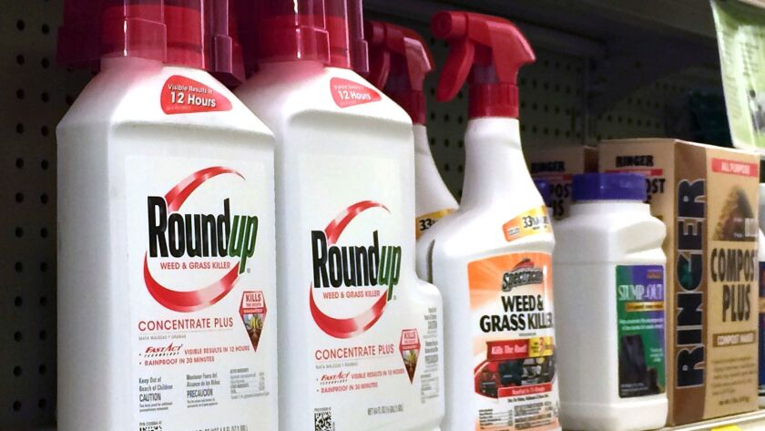 Containers of the weedkiller Roundup on a hardware store shelf in Los Angeles.