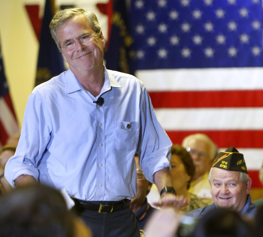 Republican presidential candidate Jeb Bush speaks at a town hall meeting on July 8, in Hudson, N.H. Bush raised $11.4 million in 16 days after formally launching his campaign for president, his campaign said Thursday.