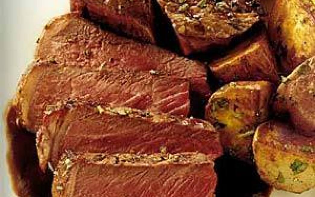 Rosemary-crusted porterhouse steaks with red wine sauce