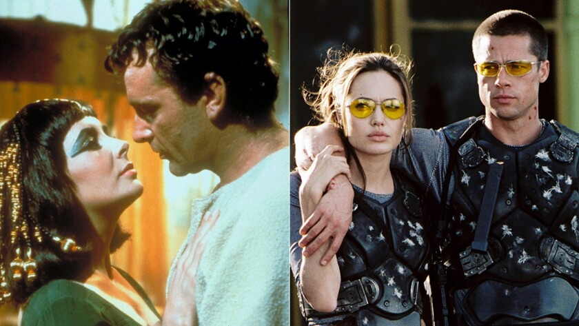 """Elizabeth Taylor and Richard Burton in """"Cleopatra,"""" left, and Angelina Jolie and Brad Pitt in """"Mr. & Mrs. Smith."""""""
