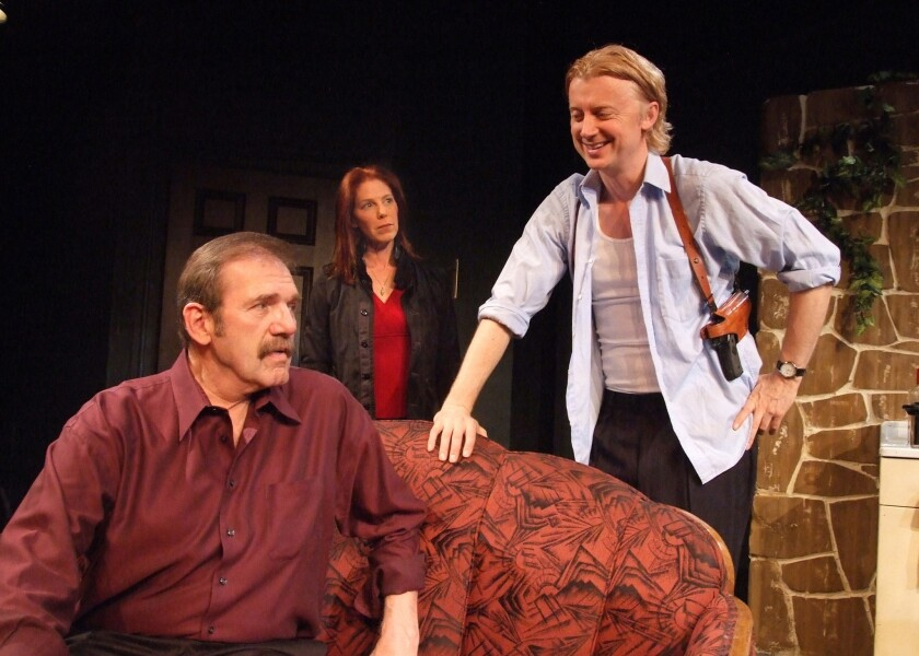 """Mik Scriba. left, Elizabeth Lande and Johnny O'Callaghan in """"Remembrance"""" at Theatre 40."""