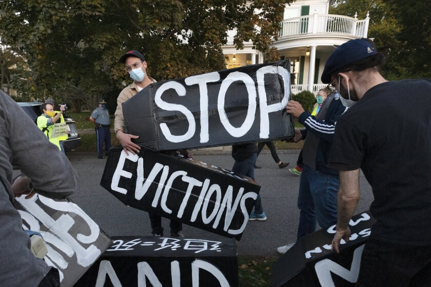 Housing activists protested in October 2020 in front of the home of Massachusetts Gov. Charlie Baker.