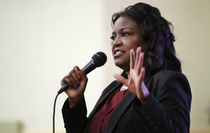 """LAUSD Superintendent Michelle King on """"listening tour"""" at Nightingale Middle School in May."""