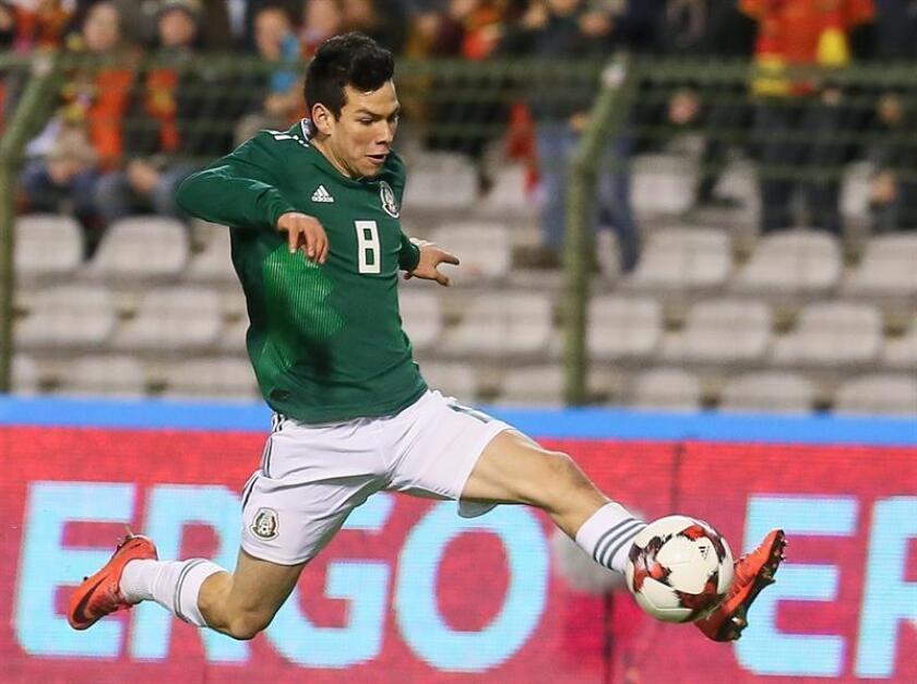 Hirving Lozano de México en acción durante el partido amistoso entre Bélgica y México en el King Baudouin Stadium, en Bruselas, Bélgica, 10 November 2017. (Bruselas, Bélgica, Futbol, Amistoso) EFE/EPA