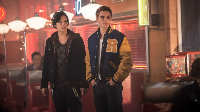 "Cole Sprouse, left, as Jughead Jones and KJ Apa as Archie Andrews in ""Riverdale."""