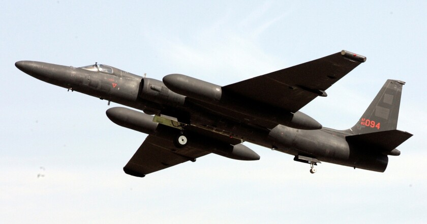 A U-2 spy plane takes off from the U.S. airbase in Osan, South Korea, in 2008.