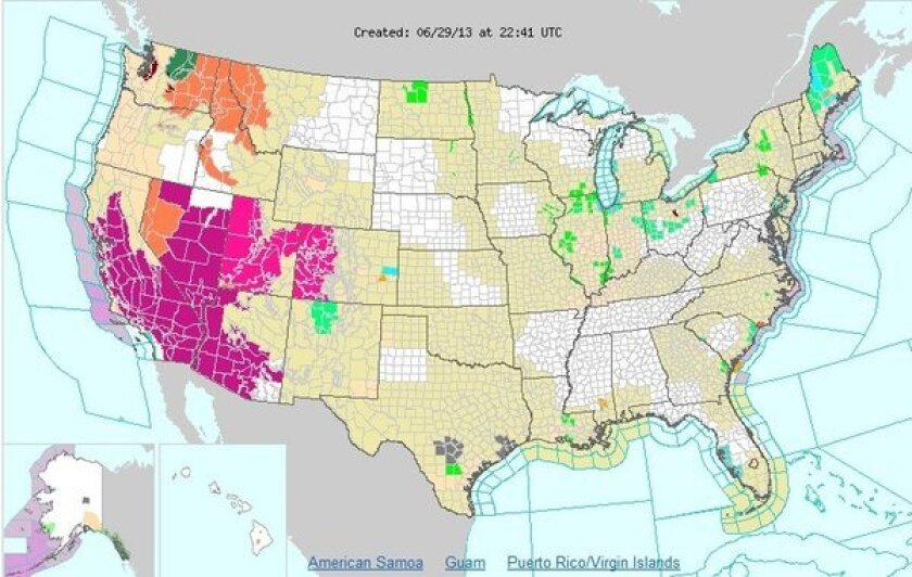 A National Weather Service map shows the extreme heat in much of the southwestern U.S. this afternoon.