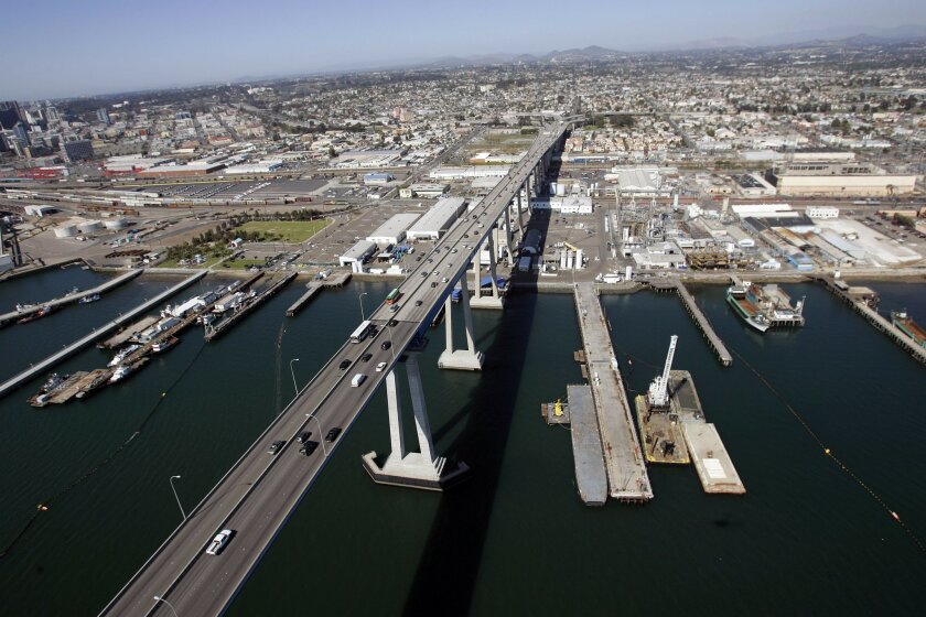 An aerial view of the San Diego Bay shipyards where dredging will take place, located to the right of the Coronado Bridge. U-T file photo.