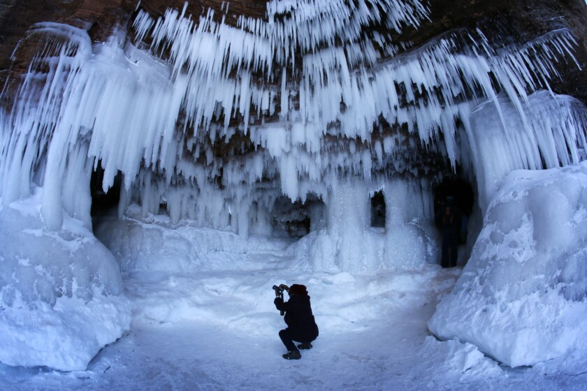 Phogographer at work in ice cave