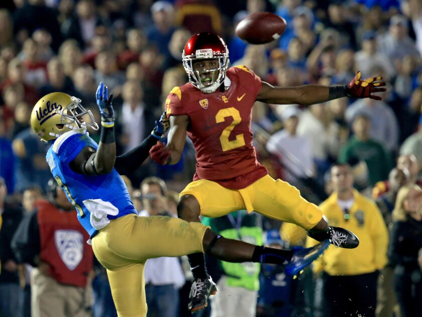 USC cornerback Adoree' Jackson breaks up a pass intended for UCLA receiver Devin Fuller at the Rose Bowl on Nov. 22.