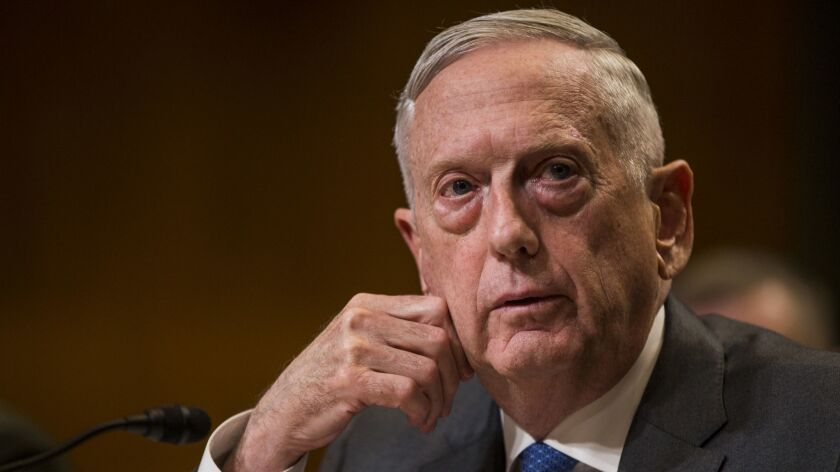 Secretary of Defense James Mattis testifies on Capitol Hill in Washington on May 9.