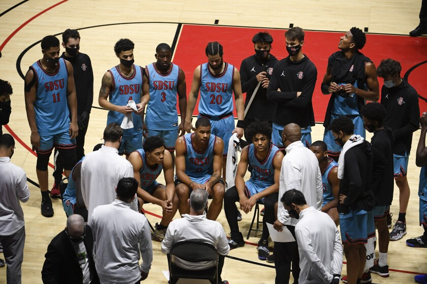 SDSU coach Brian Dutcher talks to his players in the 77-58 win against UC Irvine at Viejas Arena.
