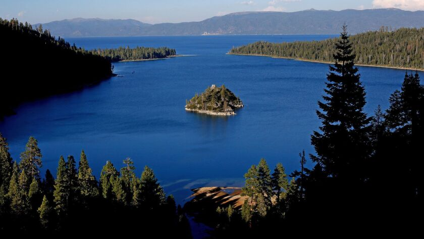 Lake Tahoe's cobalt blue waters are seen on Aug. 31, 2016. The clarity of the lake improved dramatically last year after plummeting the previous year.
