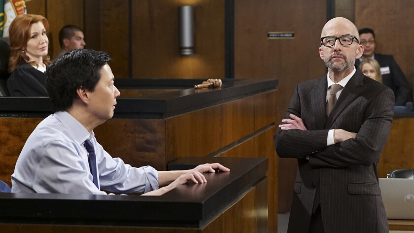 """Corie Vickers, Ken Jeong and Jim Rash in """"Dr. Ken"""" on ABC."""