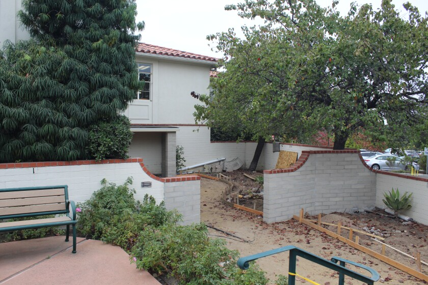 The old patio at the Rancho Santa Fe Library is getting an update.