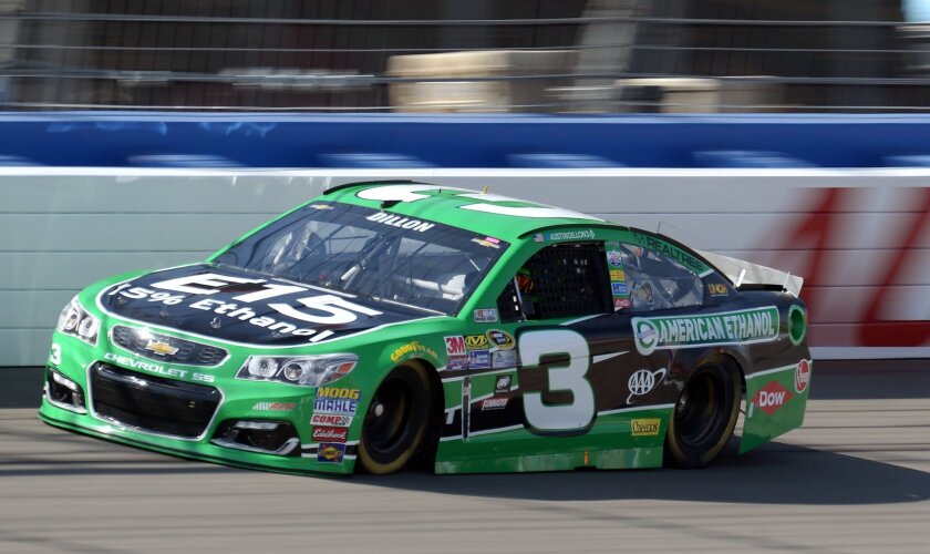 Austin Dillon crosses the front straightaway during the opening practice session Friday, March 18, 2016, for the NASCAR auto race at Auto Club Speedway in Fontana, Calif. Dillon was quickest in the opening practice session. (AP Photo/Will Lester)