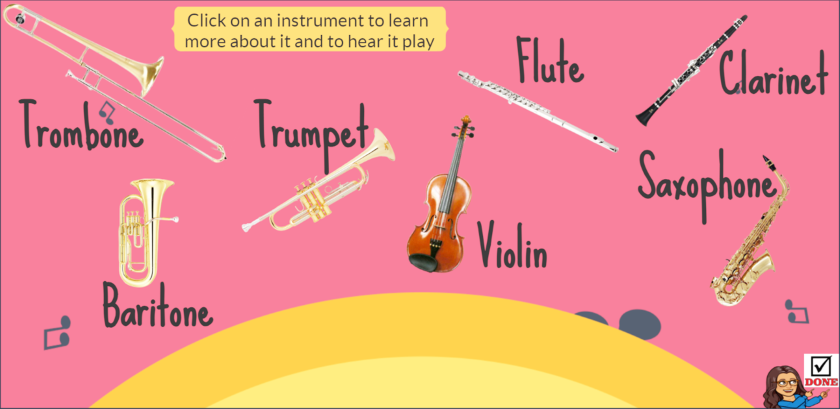 "The ""Introduction to Instruments"" field trip allows students to explore various musical instruments virtually."