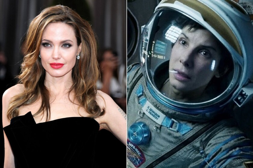 "The movie: ""Gravity"" The role: Dr. Ryan Stone, the beginner astronaut suddenly stuck in space when her space shuttle is damaged, and her thirst for life deepened. The final pick: Sandra Bullock. Jolie was set to star alongside Robert Downey Jr. But Jolie's management team wasn't able to come to an agreement with Warner Bros."