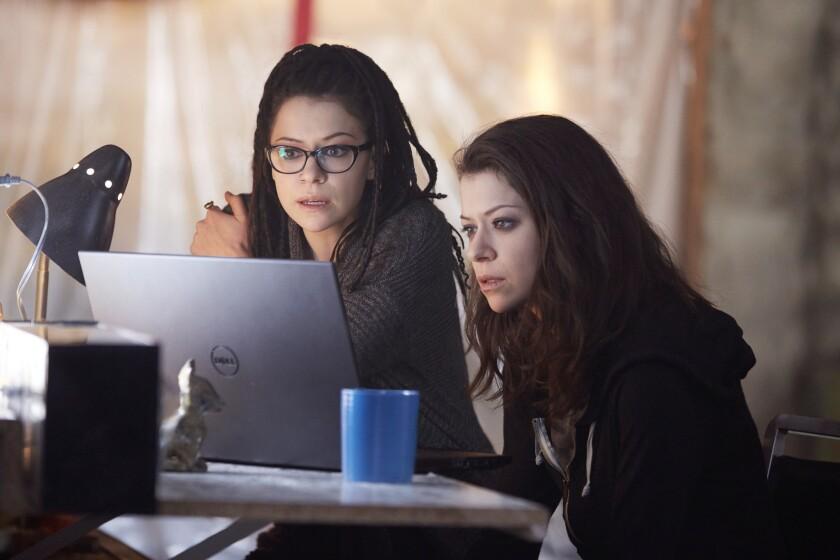 "Tatiana Maslany as Cosima, left, and Sarah in ""Orphan Black."""