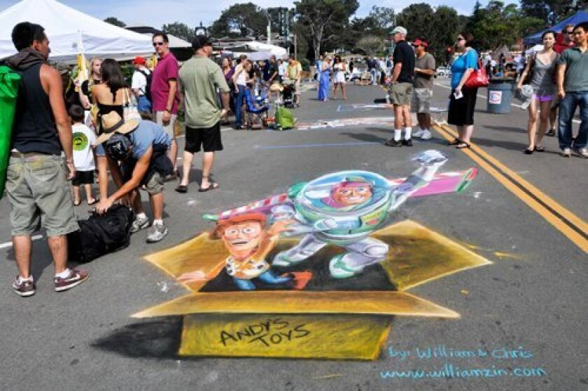 A 3-D chalk drawing (top) and birds from Free Flight (right) were only some features of last year's Taste & Stroll event. Photos: Claire Harlin
