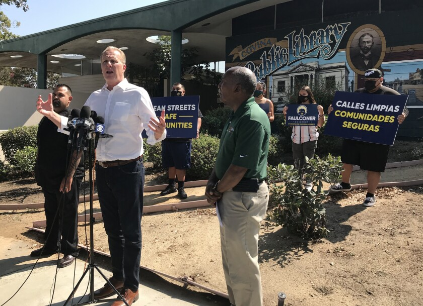 Former San Diego Mayor Kevin Faulconer makes a campaign swing through Covina Friday.