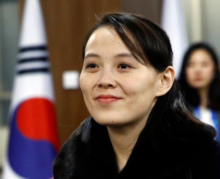 FILE - In this Feb. 9, 2018, file photo, Kim Yo Jong, sister of North Korean leader Kim Jong Un, arrives for the opening ceremony of the 2018 Winter Olympics in Pyeongchang, South Korea. After the name of Kim Yo Jong was found to be missing from North Korea's newly released lineup for its powerful Politburo, speculation has been rife about the woman widely viewed as the North's No.2. (AP Photo/Patrick Semansky, Pool, File)