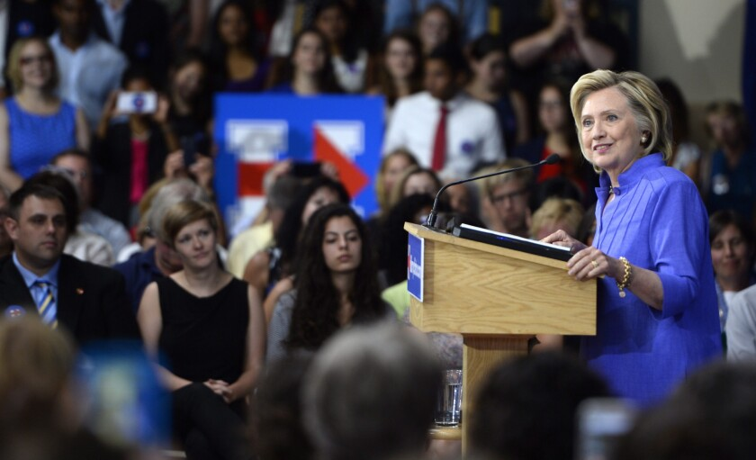 Hillary Rodham Clinton speaks during a town hall meeting in Nashua, N.H., on Aug. 10.