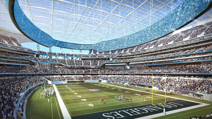 An artist's rendering of the interior of the NFL stadium in Inglewood.