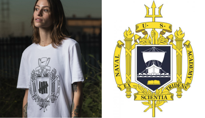 The Naval Academy has asked Nike and California boutique Undefeated to stop using a logo closely resembling the college's historic crest. At left is the Nike logo, compared with the Naval Academy's crest.