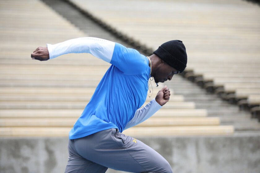 UCLA sprinter Kenroy Higgins II trains in March for the 2020 NCAA championships.